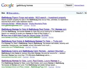 Movin' on up! Top 10 Google organic results for East Tennessee real estate terms.