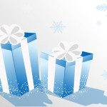 christmas present boxs -blue color