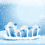 christmas present boxs with blue background